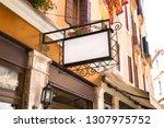 white plain signage mock up for ... | Shutterstock . vector #1307975752