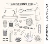 set with sketch tailoring... | Shutterstock .eps vector #1307986735