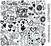 heart icons set  hand drawn... | Shutterstock .eps vector #1307986855