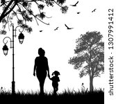 mother and daughter silhouette... | Shutterstock .eps vector #1307991412