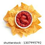 corn chips nachos and salsa... | Shutterstock . vector #1307995792