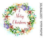 watercolor christmas background  | Shutterstock . vector #1307998735