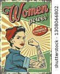 vintage woman power colorful... | Shutterstock .eps vector #1308066802