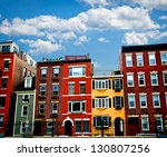 Row Of Brick Houses In Boston...