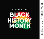 celebrating black history month.... | Shutterstock .eps vector #1308076588