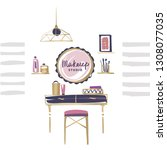 vanity table with cosmetic...   Shutterstock .eps vector #1308077035