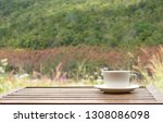 coffee espresso on wood table... | Shutterstock . vector #1308086098