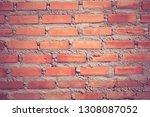 facade view of old brick wall... | Shutterstock . vector #1308087052