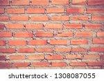 facade view of old brick wall... | Shutterstock . vector #1308087055