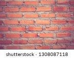 burred facade view of old brick ... | Shutterstock . vector #1308087118