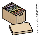 a filing box with colourful... | Shutterstock .eps vector #130809878