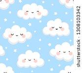 cloud cute smiling face... | Shutterstock .eps vector #1308103342