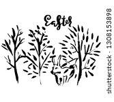 easter. handdrawn modern brush... | Shutterstock .eps vector #1308153898
