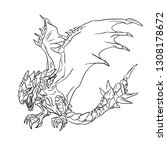 dragon for coloring book | Shutterstock .eps vector #1308178672