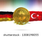 bitcoin with germany flag and... | Shutterstock . vector #1308198055
