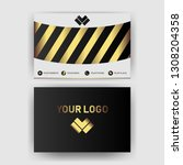 business card template with... | Shutterstock .eps vector #1308204358
