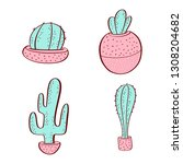 set of colorful succulents and... | Shutterstock .eps vector #1308204682