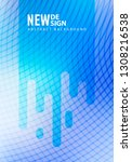 minimal blue halftone design...   Shutterstock .eps vector #1308216538
