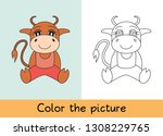 coloring book. ox  bull  cow... | Shutterstock .eps vector #1308229765