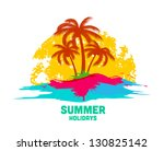 summer holiday logo with sea... | Shutterstock .eps vector #130825142