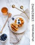 sweet homemade belgian waffle...   Shutterstock . vector #1308256942