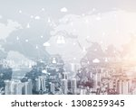 modern cityscape with buildings ... | Shutterstock . vector #1308259345