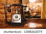 Old Vintage Telephone On Table...