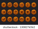 wooden buttons. vector game ui...