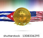 bitcoin with usa flag and cuba... | Shutterstock . vector #1308336295