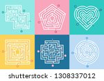 maze entrance. find right way ... | Shutterstock .eps vector #1308337012