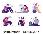 depressed teenagers. sadness... | Shutterstock .eps vector #1308337015