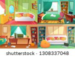teenagers bedroom. student... | Shutterstock .eps vector #1308337048