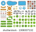 top view park items. garden... | Shutterstock .eps vector #1308337132