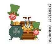 leprechauns with cauldron... | Shutterstock .eps vector #1308338362