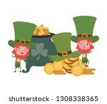 leprechauns with cauldron... | Shutterstock .eps vector #1308338365