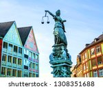 lady justice in frankfurt at... | Shutterstock . vector #1308351688