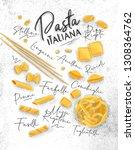 poster lettering pasta italiana ...   Shutterstock .eps vector #1308364762