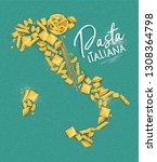 poster lettering pasta italiana ...   Shutterstock .eps vector #1308364798