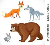 Stock vector set of wild cartoon animals bear fox wolf hare isolated on white background 1308372838