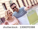 portrait of happy couple with...   Shutterstock . vector #1308393388