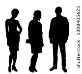 silhouette people stand  | Shutterstock .eps vector #1308405625
