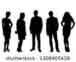 silhouette people stand isolated | Shutterstock .eps vector #1308405628