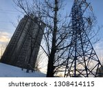 building  tree and power supply ... | Shutterstock . vector #1308414115