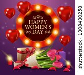 women's day greeting purple... | Shutterstock .eps vector #1308430258