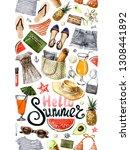watercolor tropical fashion... | Shutterstock . vector #1308441892