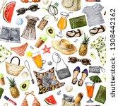 summer beach clothes and... | Shutterstock . vector #1308442162