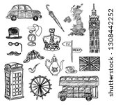 set of hand drawn icons of... | Shutterstock . vector #1308442252