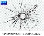 broken glass  cracks  bullet... | Shutterstock .eps vector #1308446032