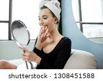 young woman wearing plastic... | Shutterstock . vector #1308451588
