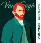 cartoon van gogh. vector... | Shutterstock .eps vector #1308469948